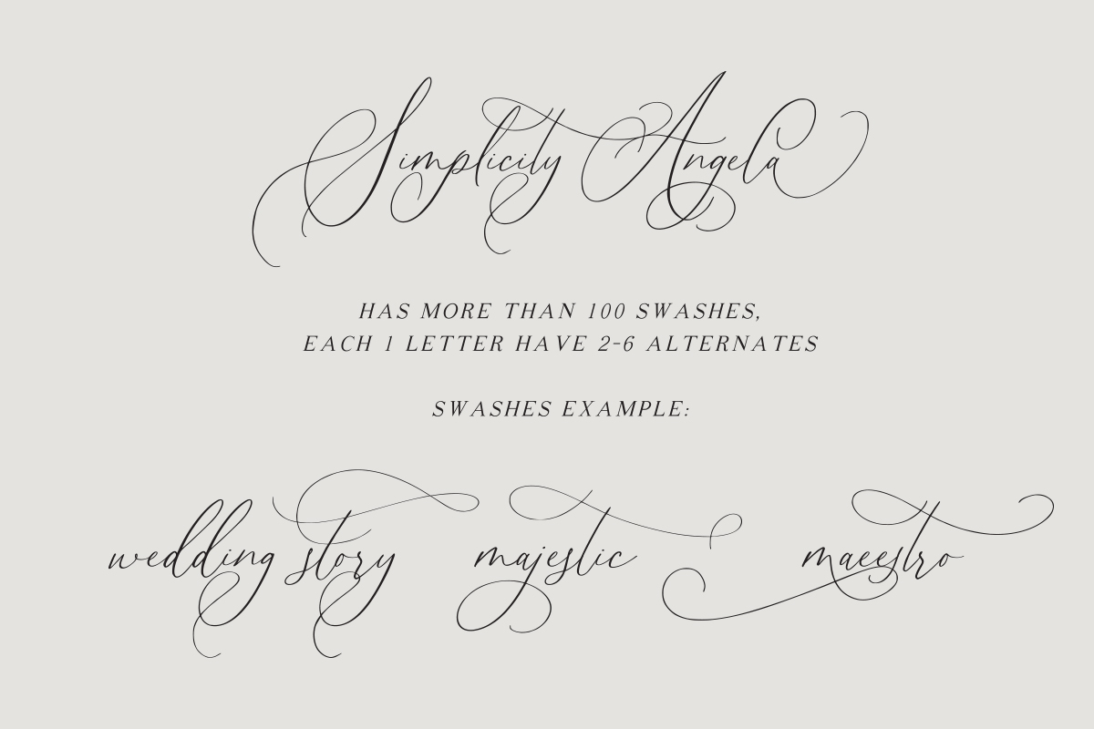 Simplicity Angela - Calligraphy Font example image 12