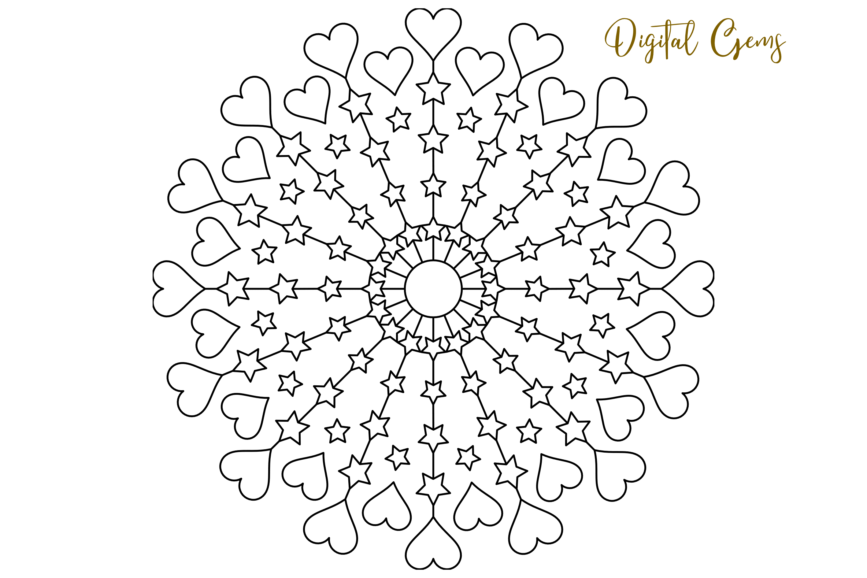 Heart and star mandala, single line sketch / foil quill file example image 6
