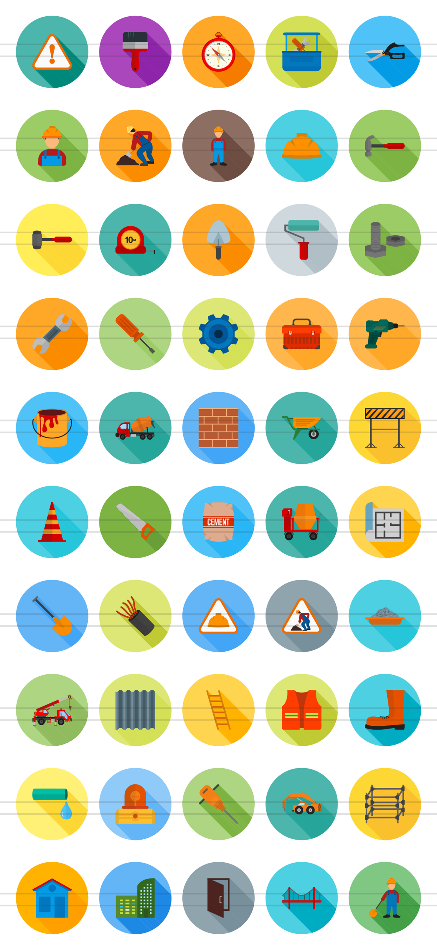 50 Construction Flat Long Shadow Icons example image 2