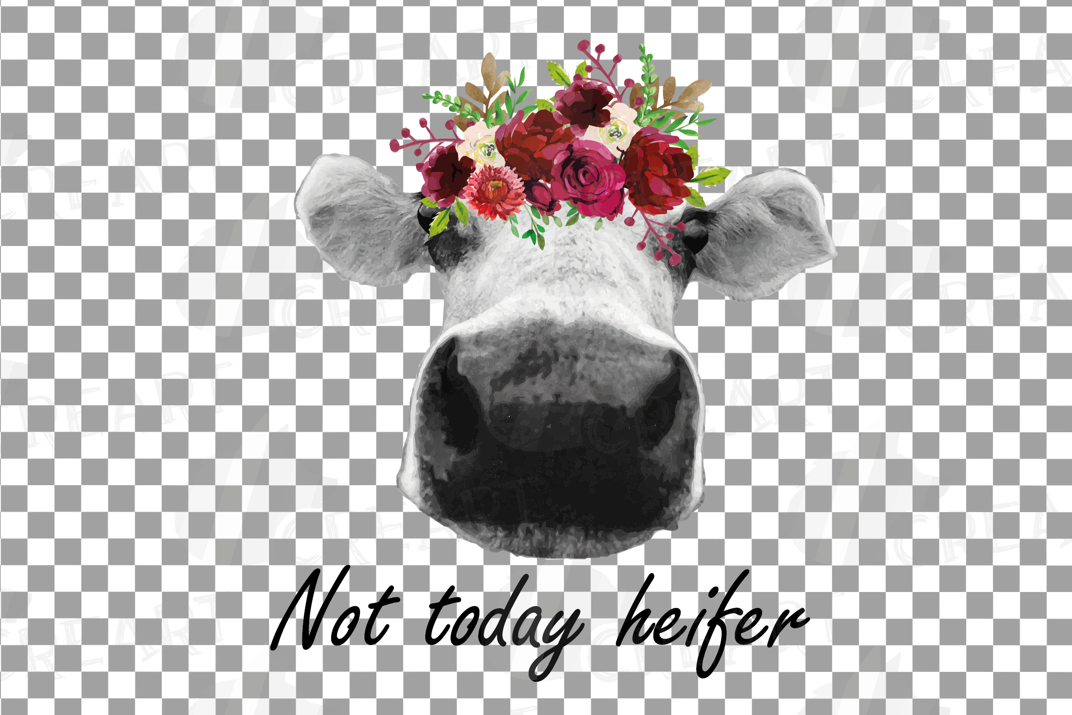 Not today Heifer printable floral burgundy decor, floral cow example image 3