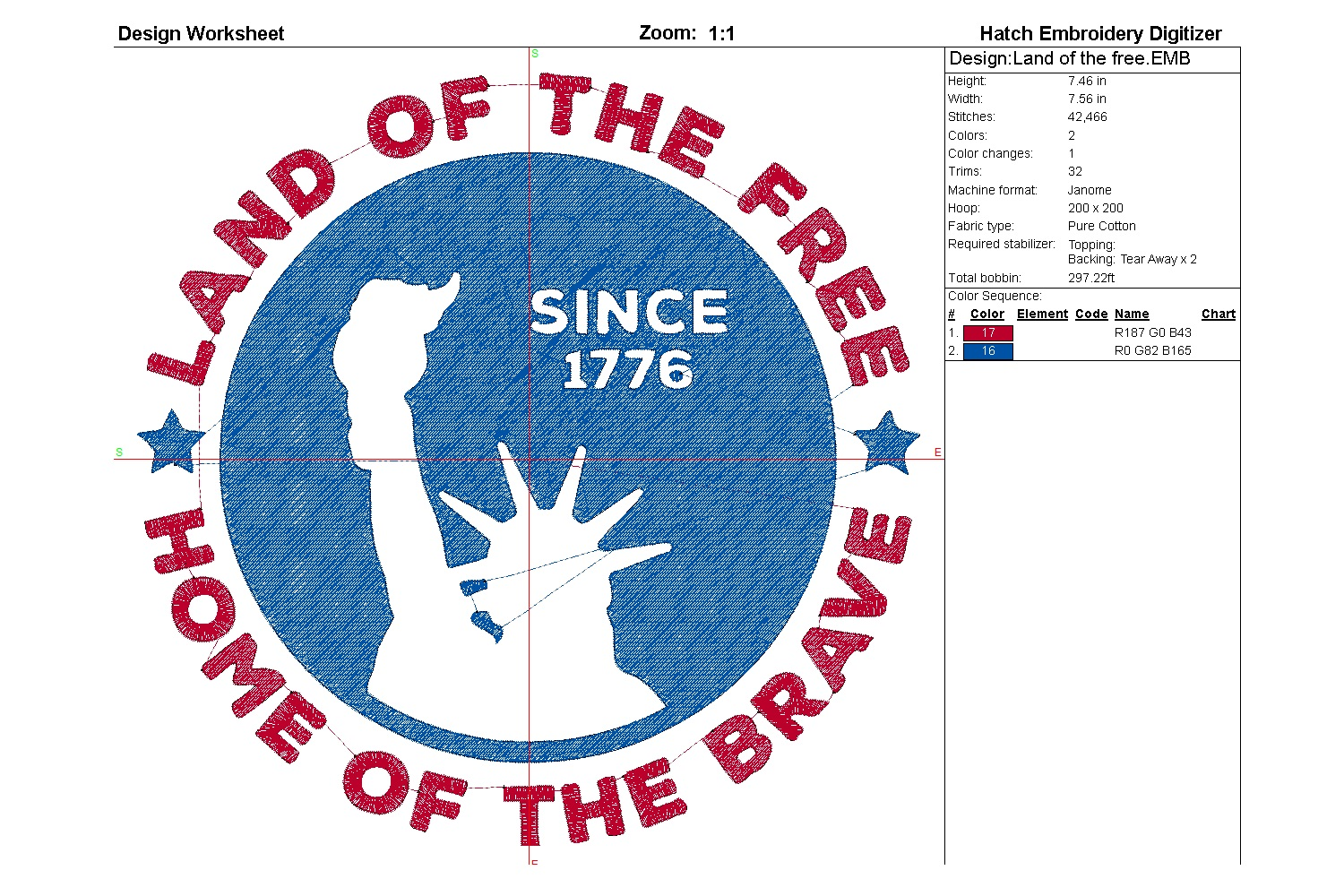 Land of the free| Independence day | Machine embroidery| example image 5