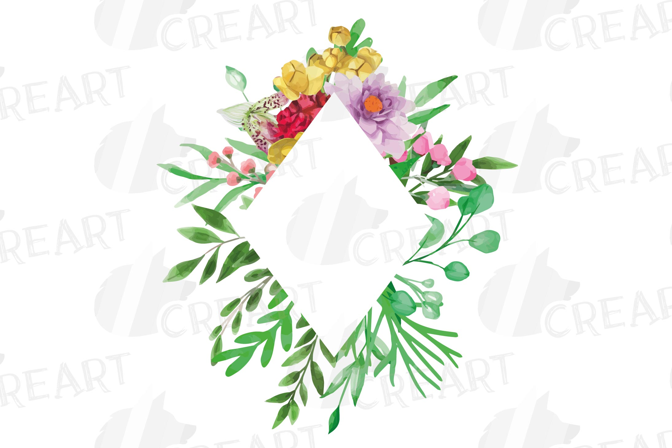 Watercolor floral floral frames and borders clip art pack example image 12
