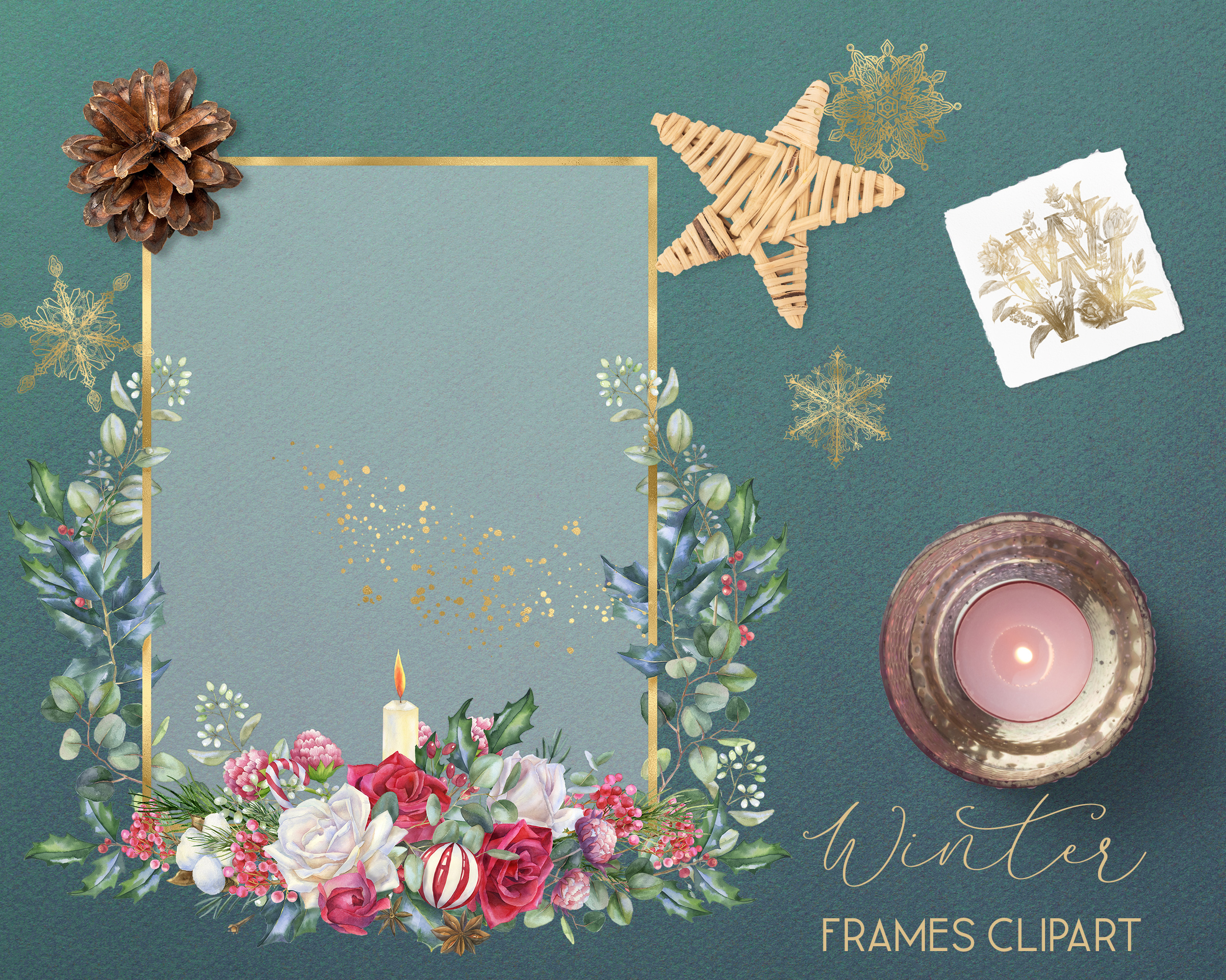 Winter frames clipart, watercolor Christmas borders png example image 9