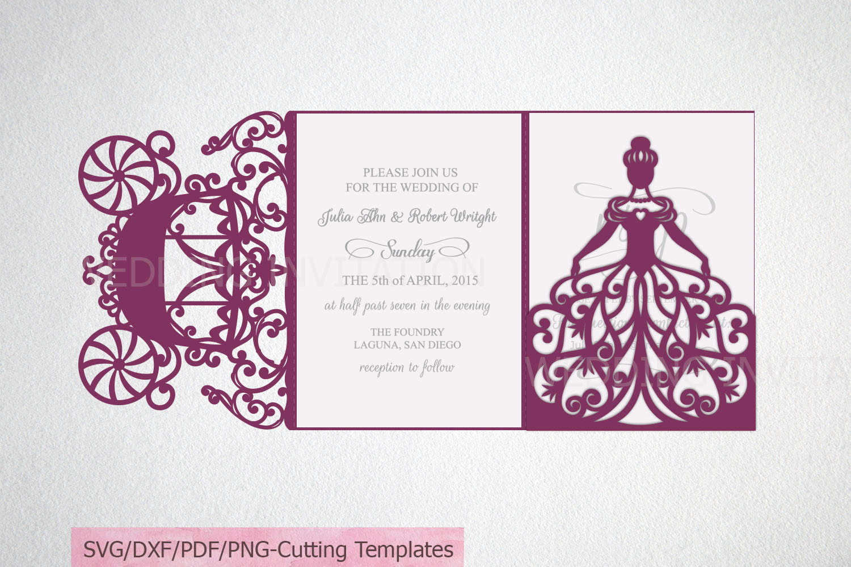 Princess Bride Trifold Wedding Invitation laser cut svg dxf example image 2