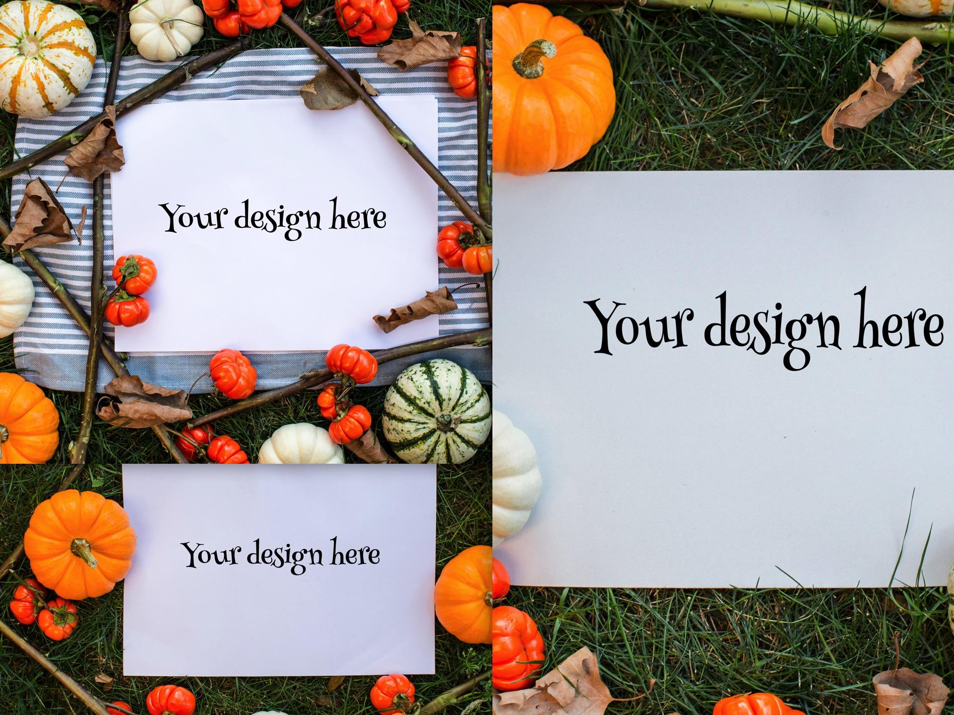 Set from 3 pumpkin mockups example image 1