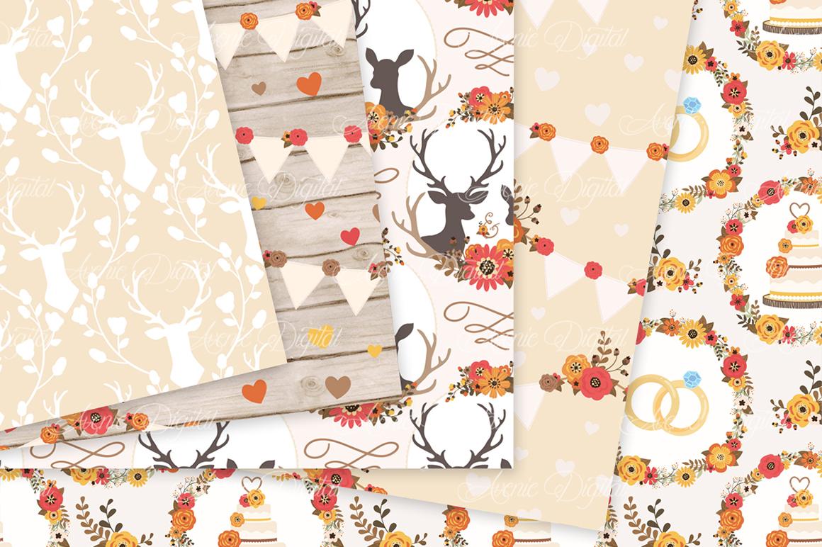 Fall Rustic Wedding Digital Paper - Autumn Rustic Deer Wedding Seamless Patterns example image 2