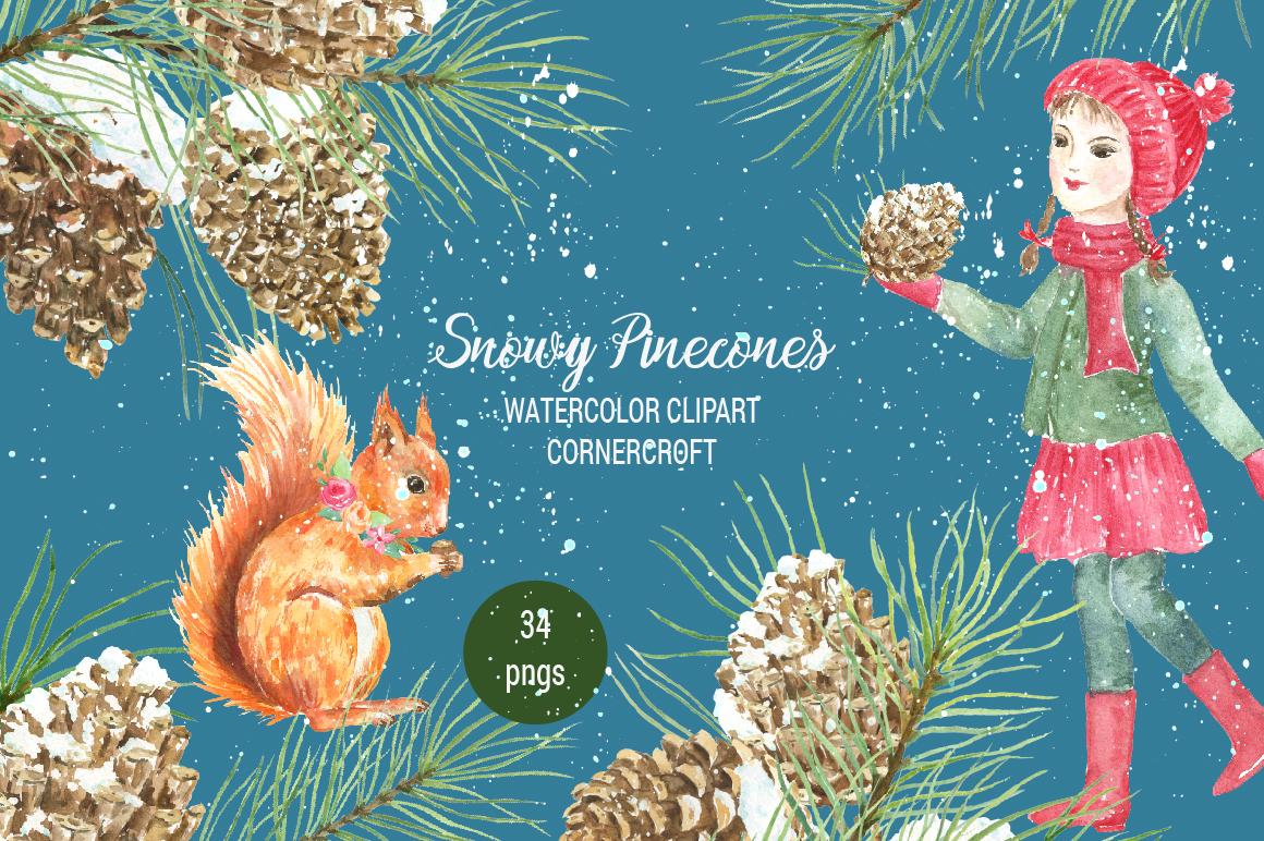Snowy Pine Cones Watercolor Clipart example image 1