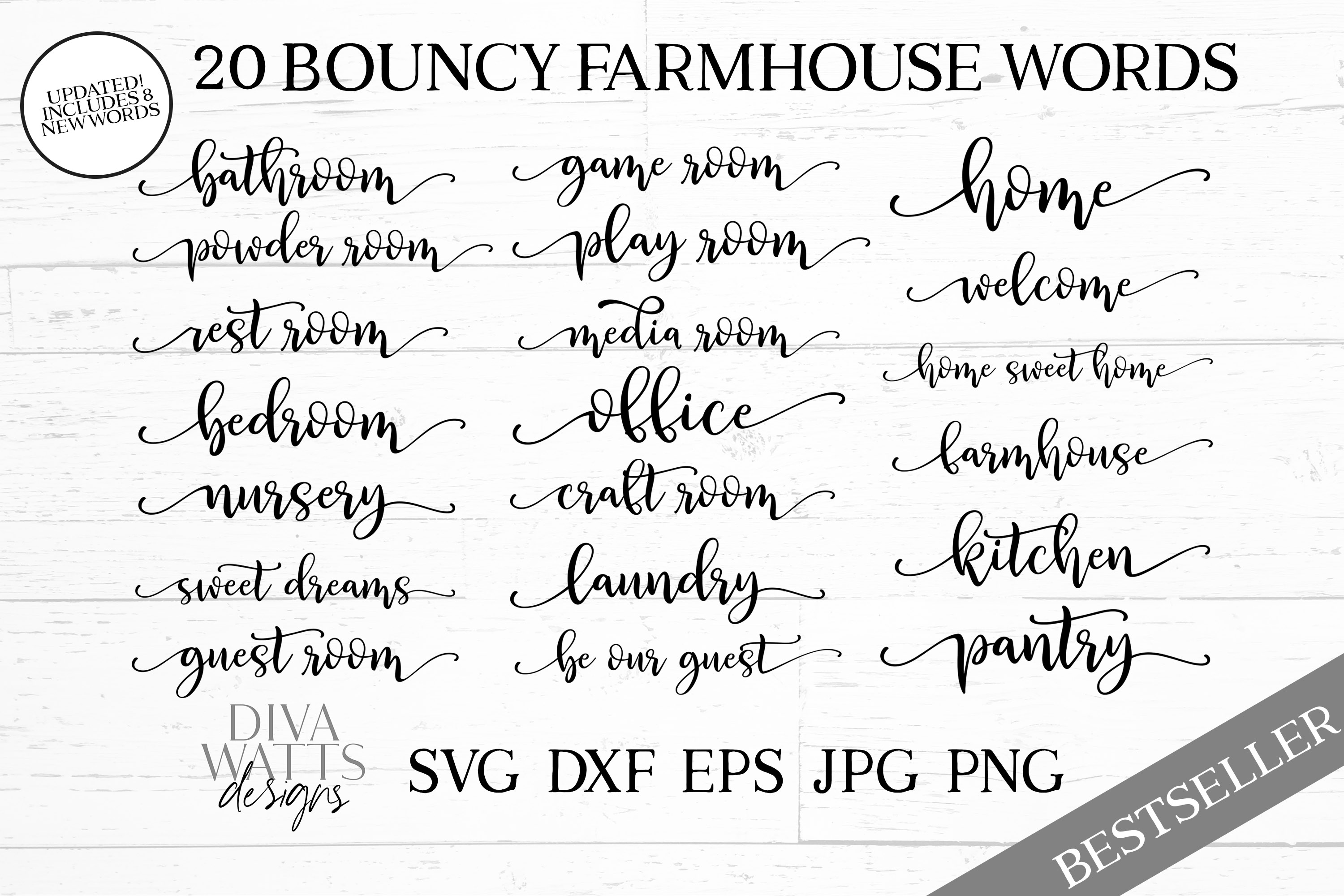 Farmhouse Words Bundle Set of 12 Bouncy Words with Tails example image 1