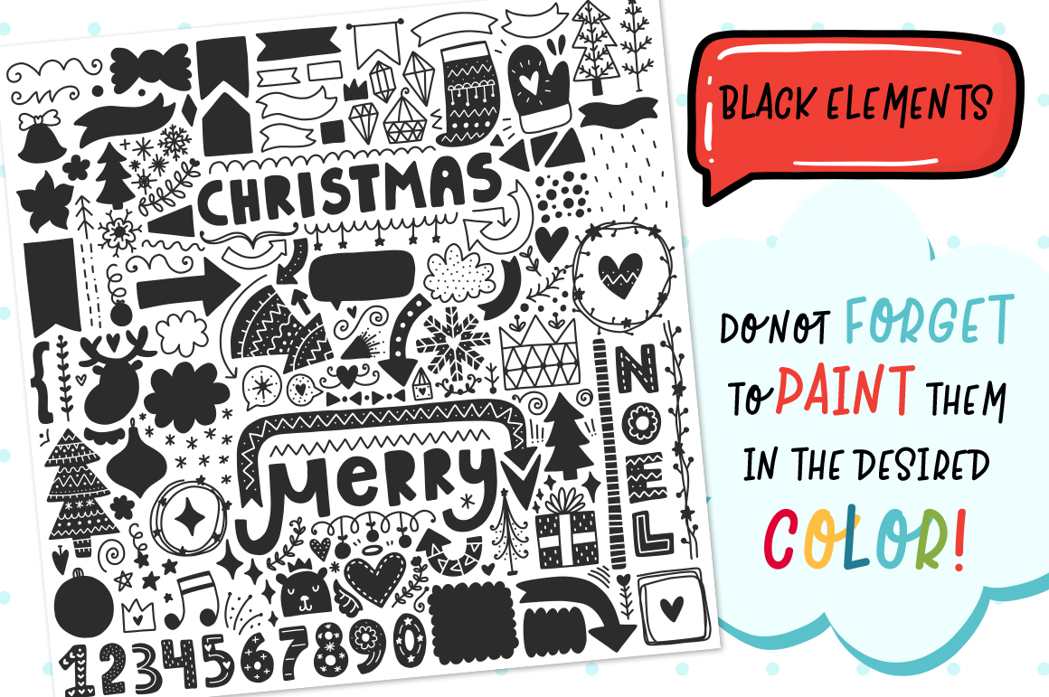 610+ Christmas Doodles - Clipart Set example image 2