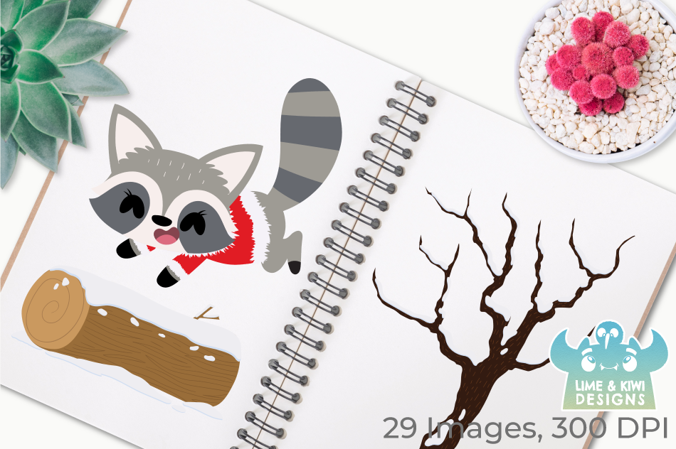 Christmas Woodland Animals Clipart, Instant Download example image 3