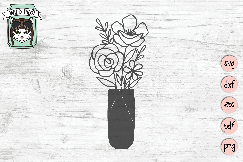 Flower VaseSVG file, Floral Vase cut file, Bouquet clipart example image 5