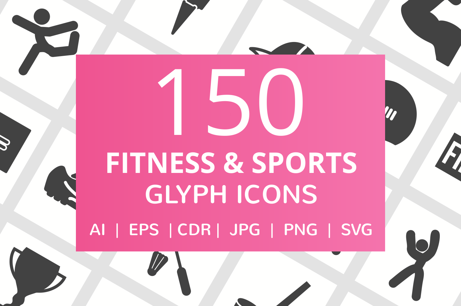 150 Fitness & Sports Glyph Icons example image 1