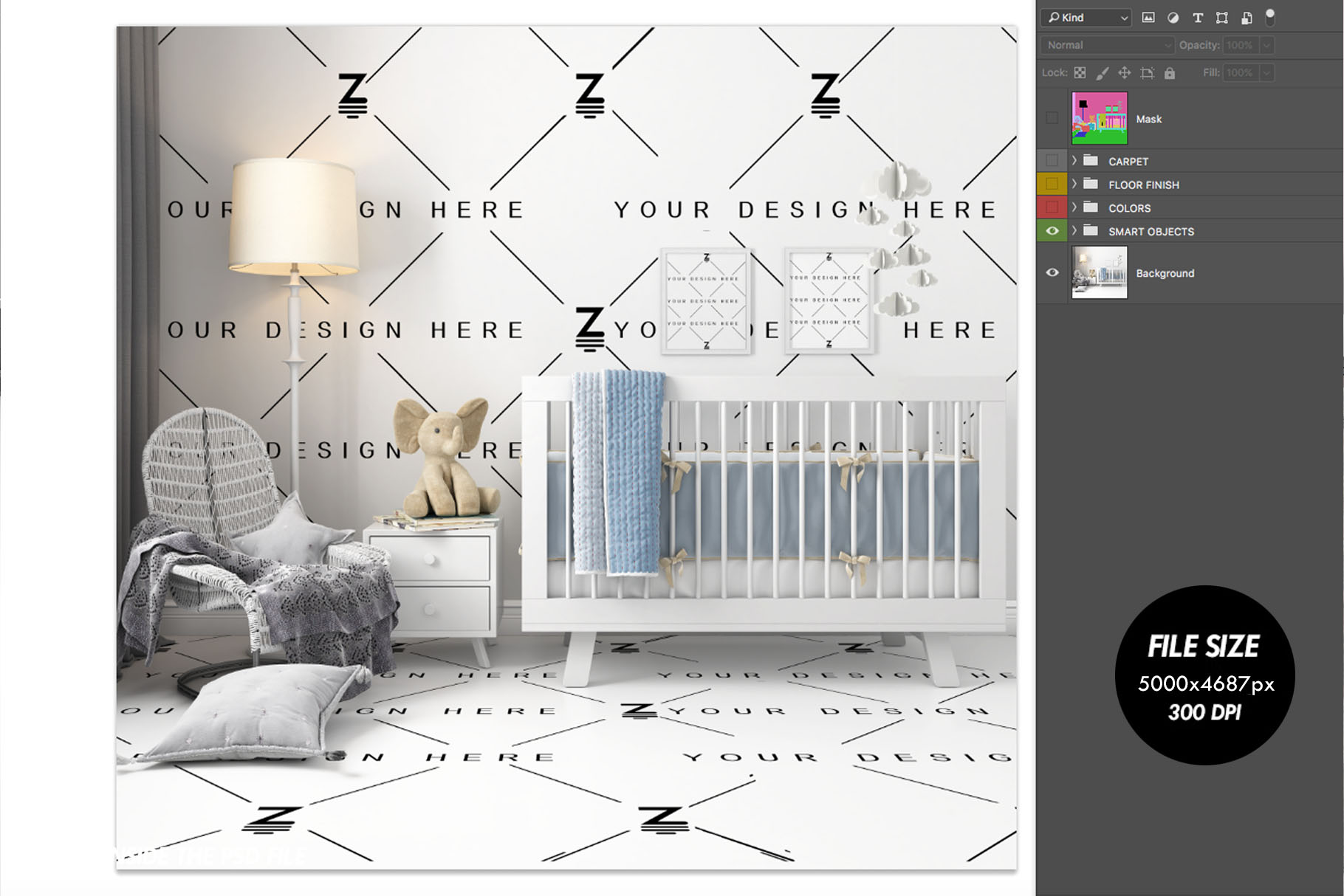 Wallpaper, floor, carpet and frame Mockup Baby Bedroom SM60 example image 4