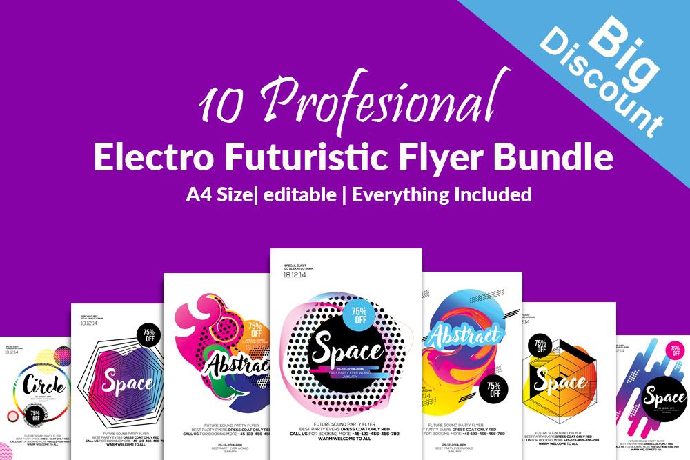 10 Electro & Futuristic Flyers Bundle example image 1