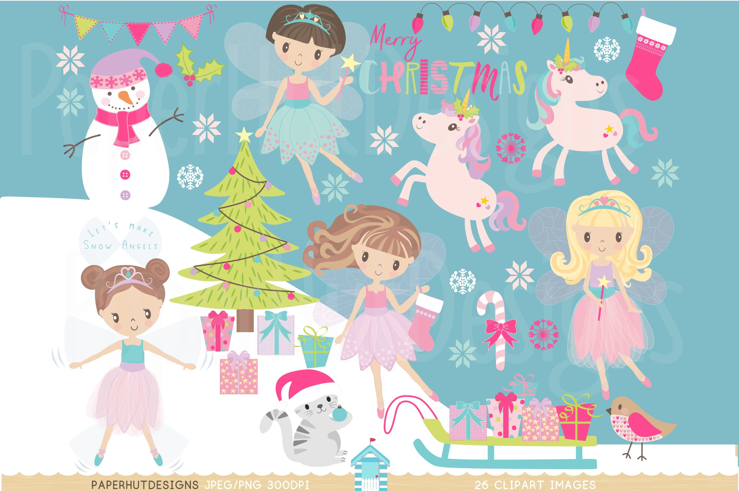 Christmas Fairy Clipart Set example image 1