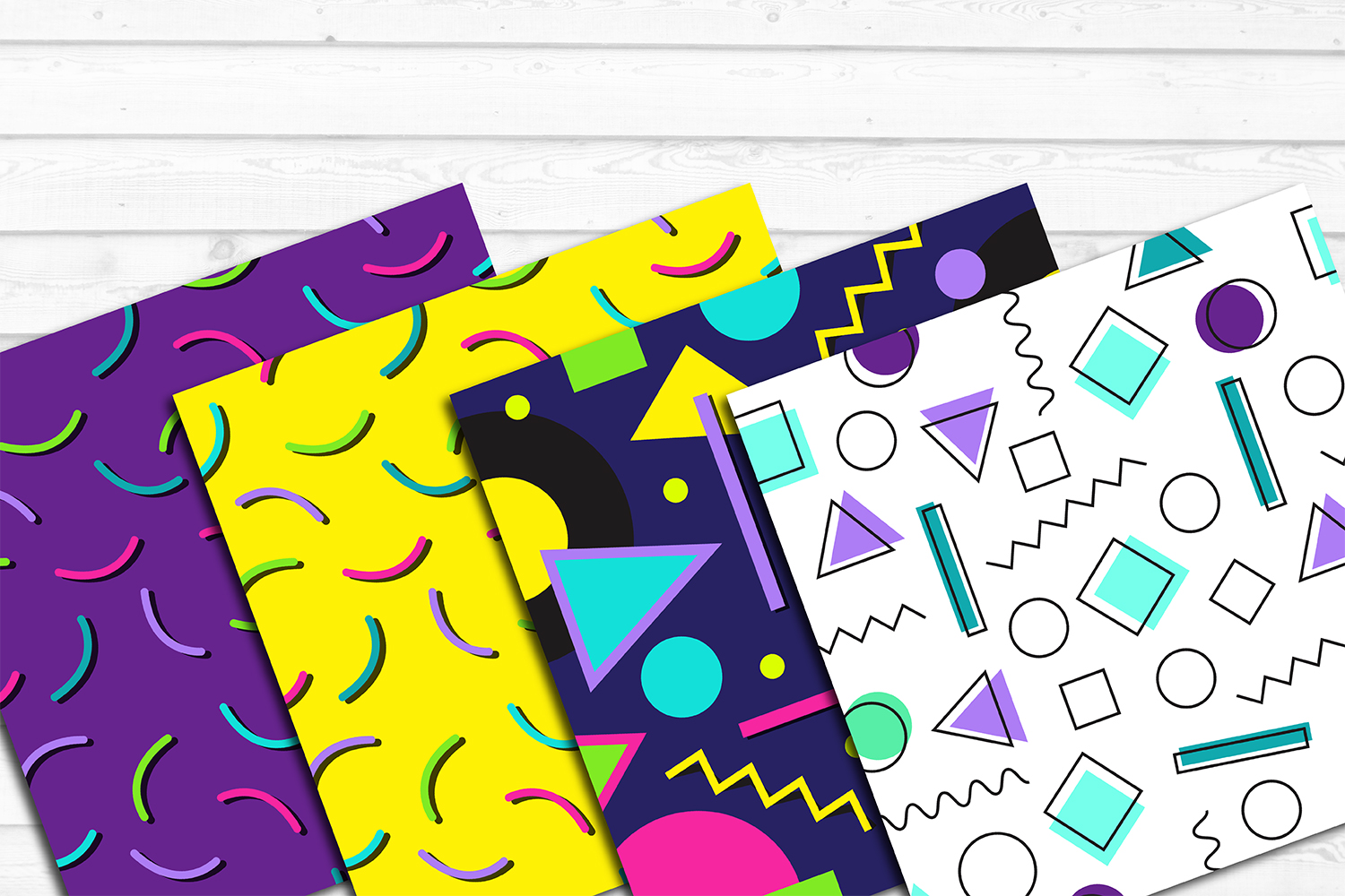 12 80s 90s Style Retro Neon Pop Art Pattern Digital Papers example image 3