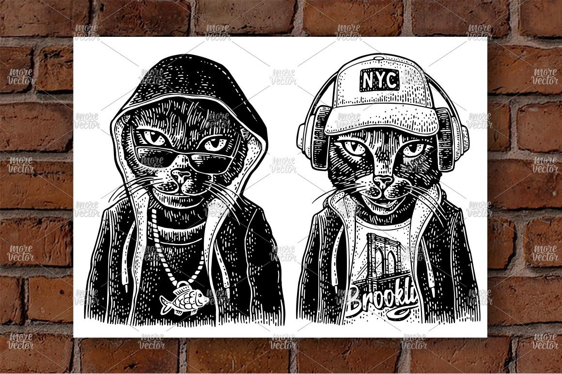 Cat to headphones dressed in the hoodie example image 1
