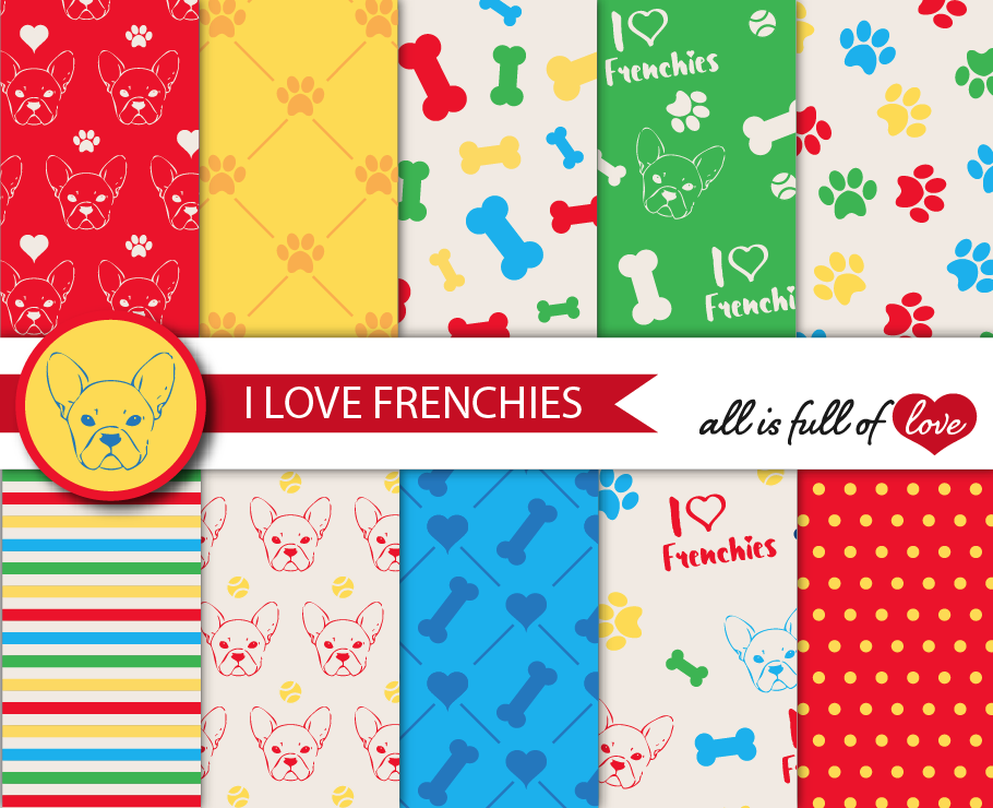 I Love Frenchies Digital Paper French Bulldog Background Patterns Multicolored Graphics example image 1