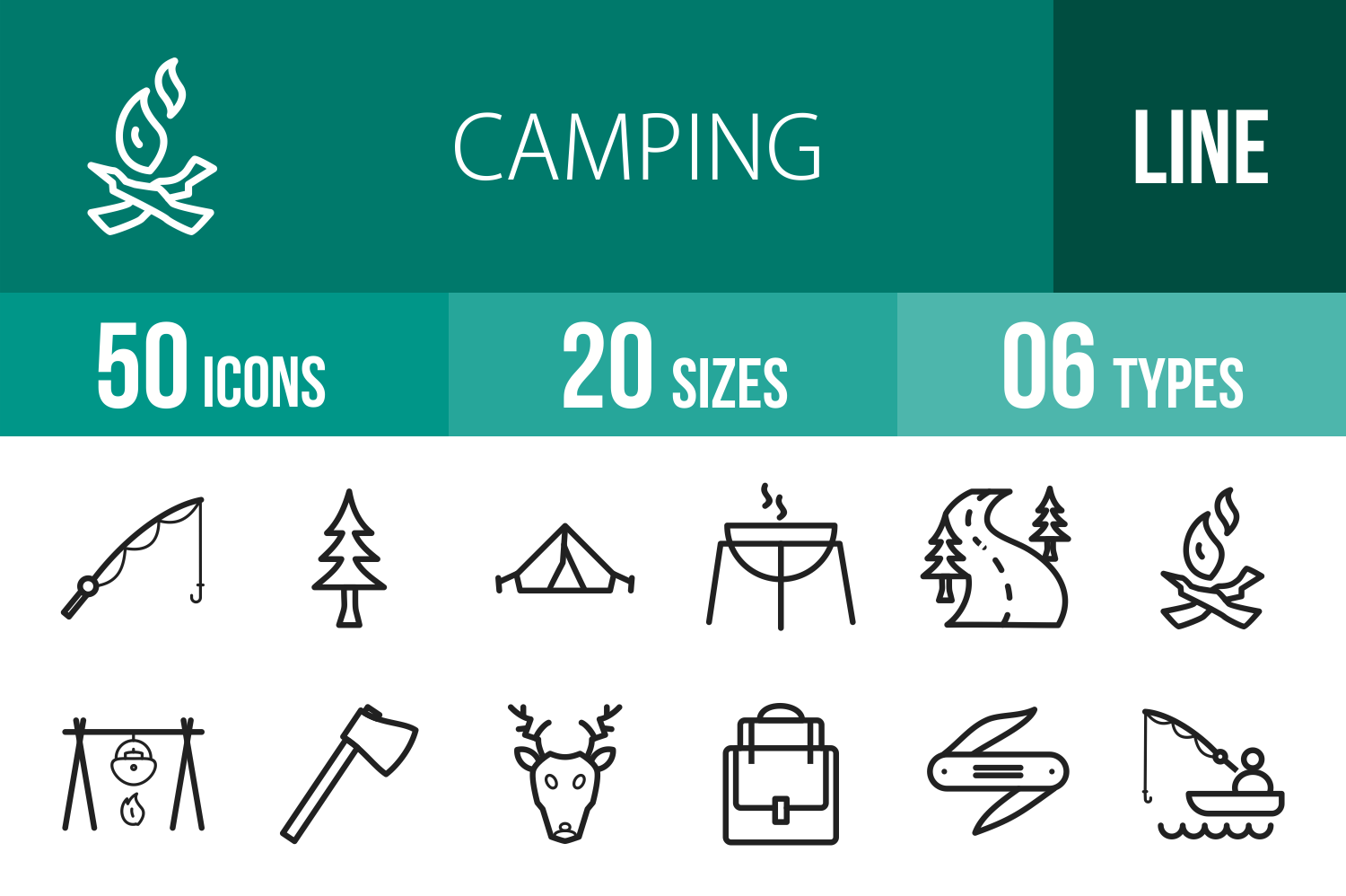 50 Camping Line Icons example image 1