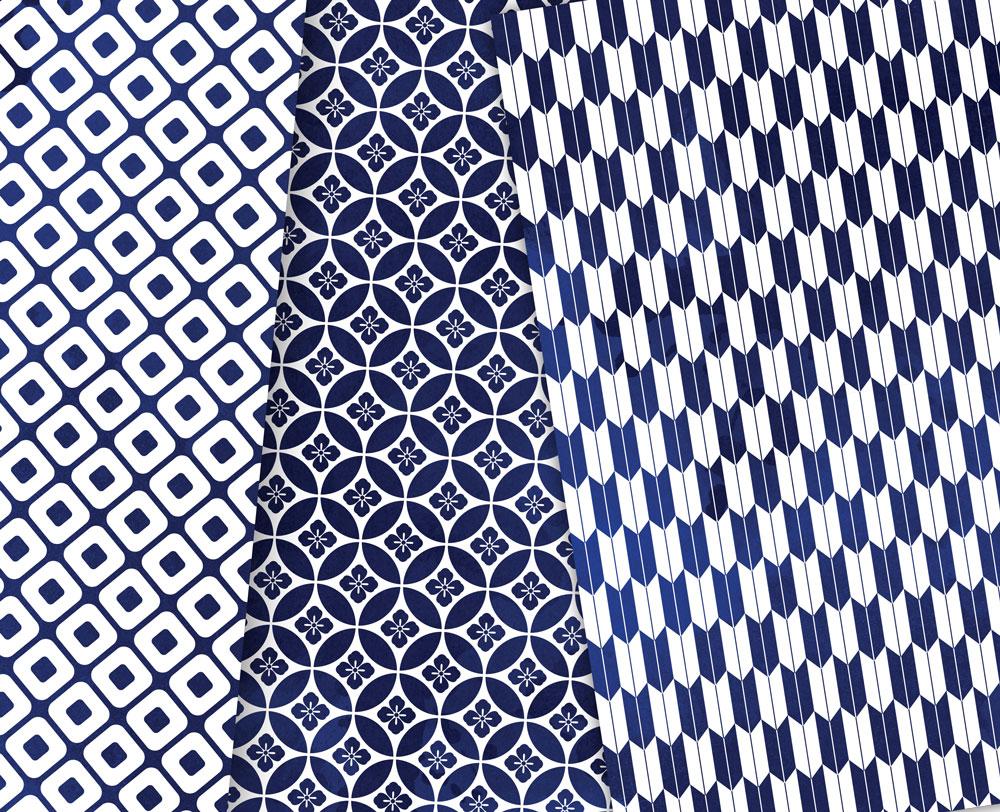Navy Blue Digital Paper Japanese Background Patterns example image 4