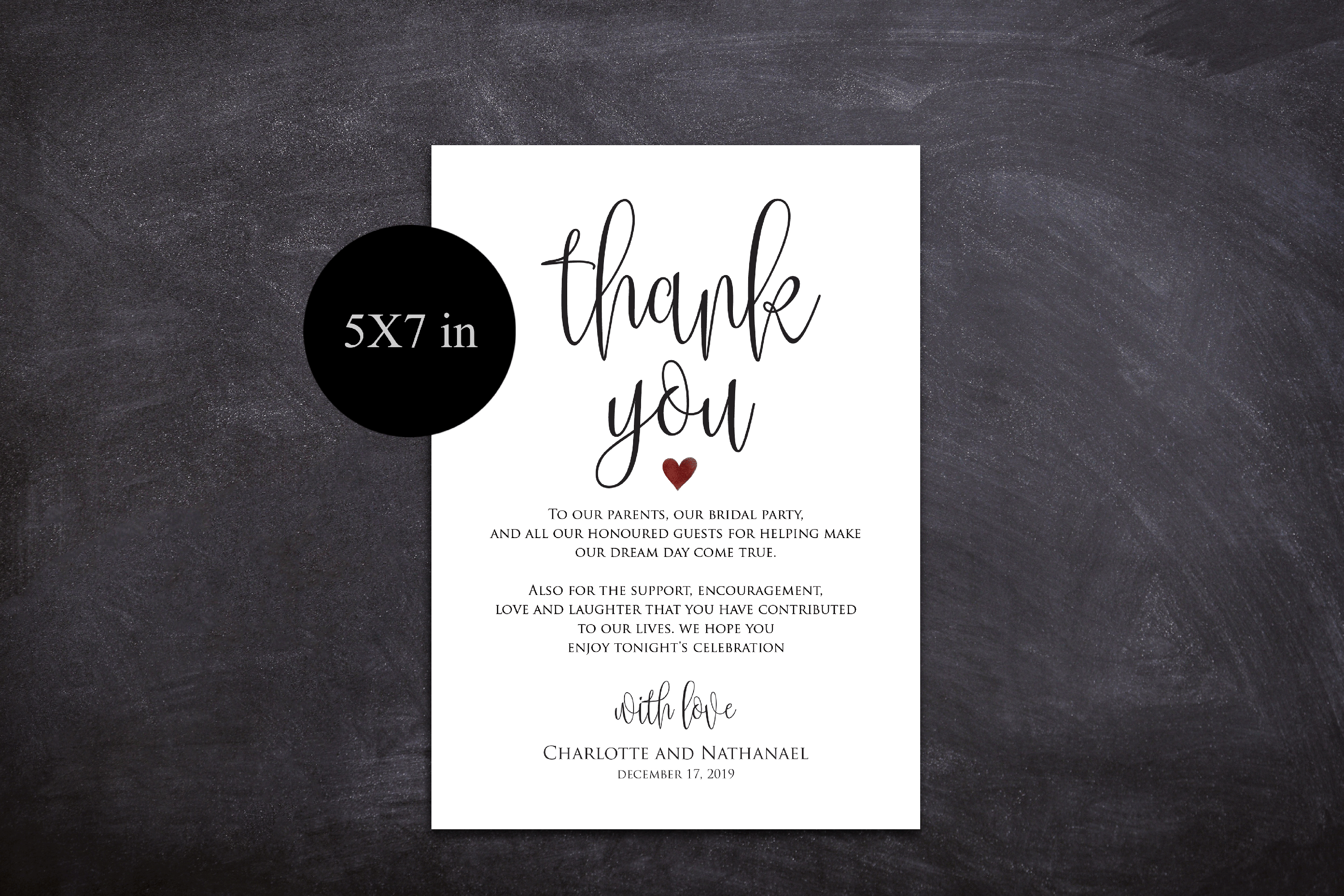 Wedding Thank You Note, Printable Thank You Card Template example image 3