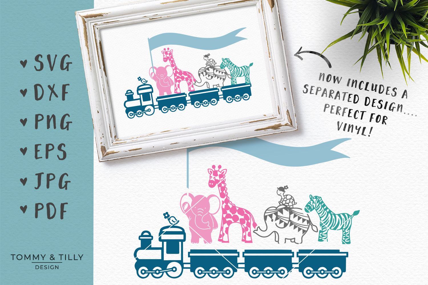 Animal Train - SVG DXF PNG EPS JPG PDF Cutting File example image 2