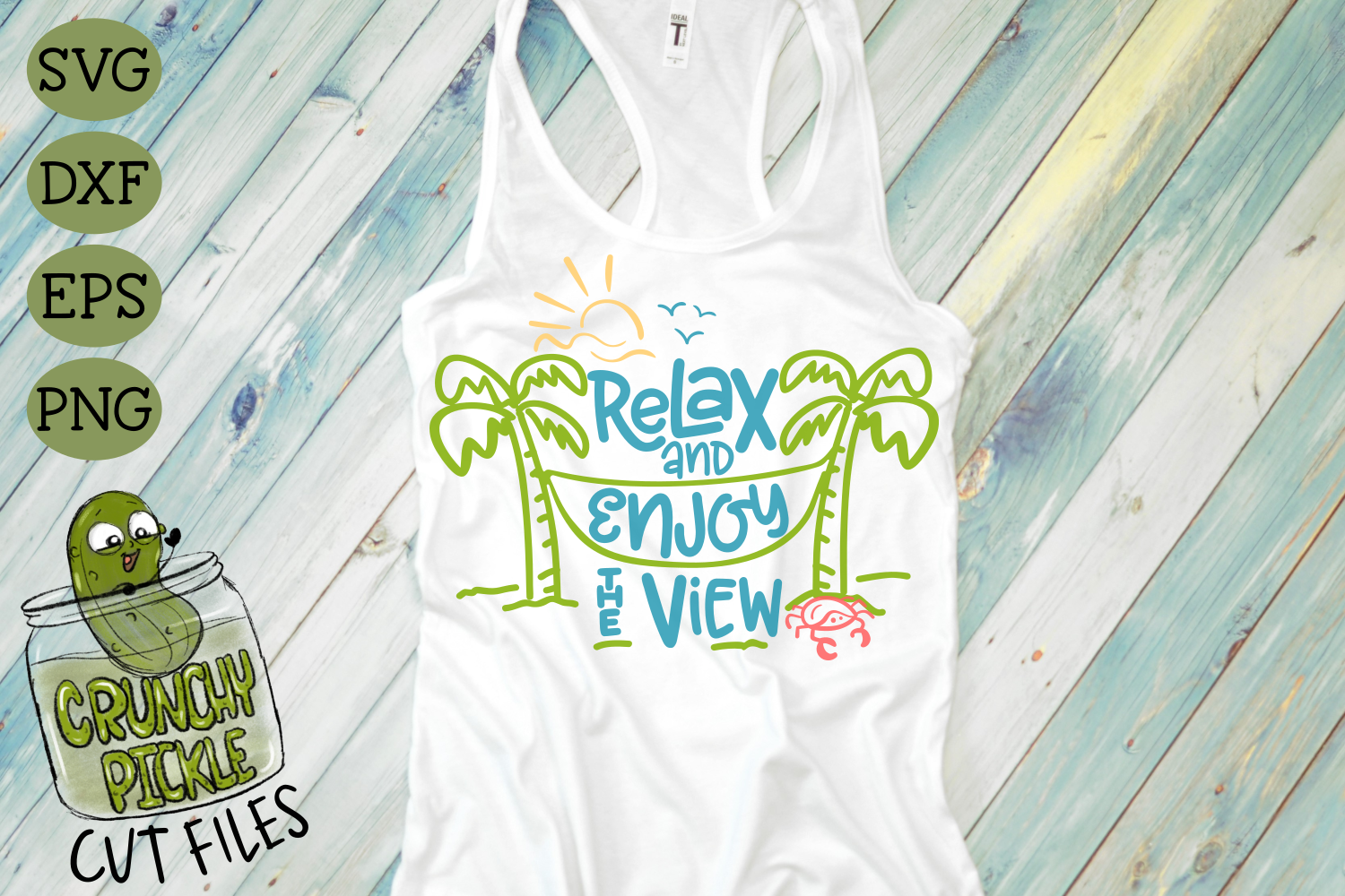 Relax and Enjoy the View Beach Hammock SVG Cut File example image 1