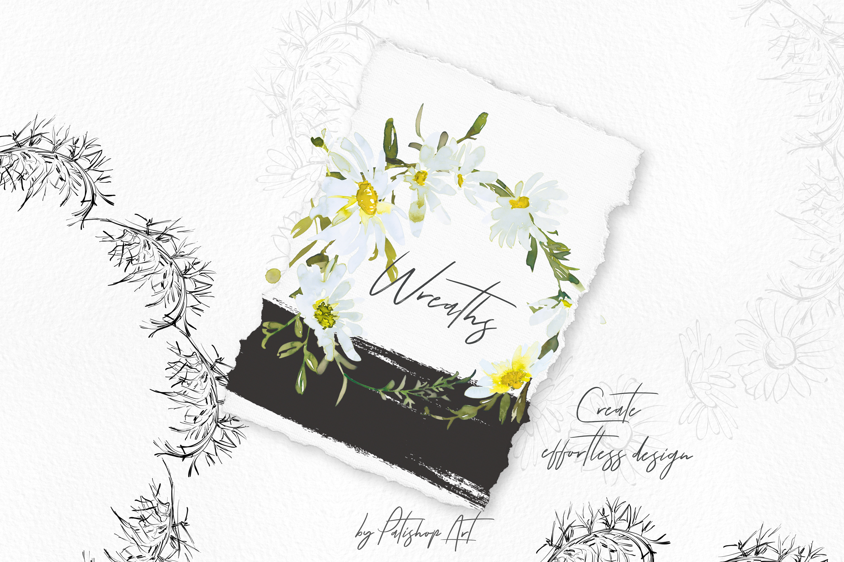 Watercolor Daisy Wreath Clip Art example image 6