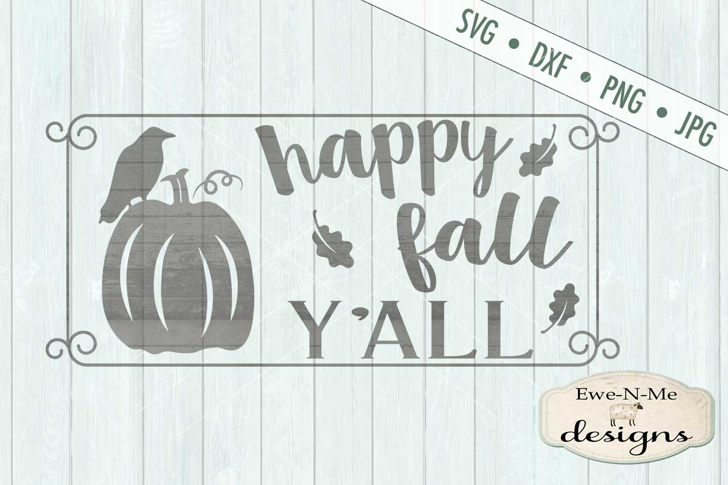 Happy Fall Y'all Crow Pumpkin SVG DXF Files example image 2