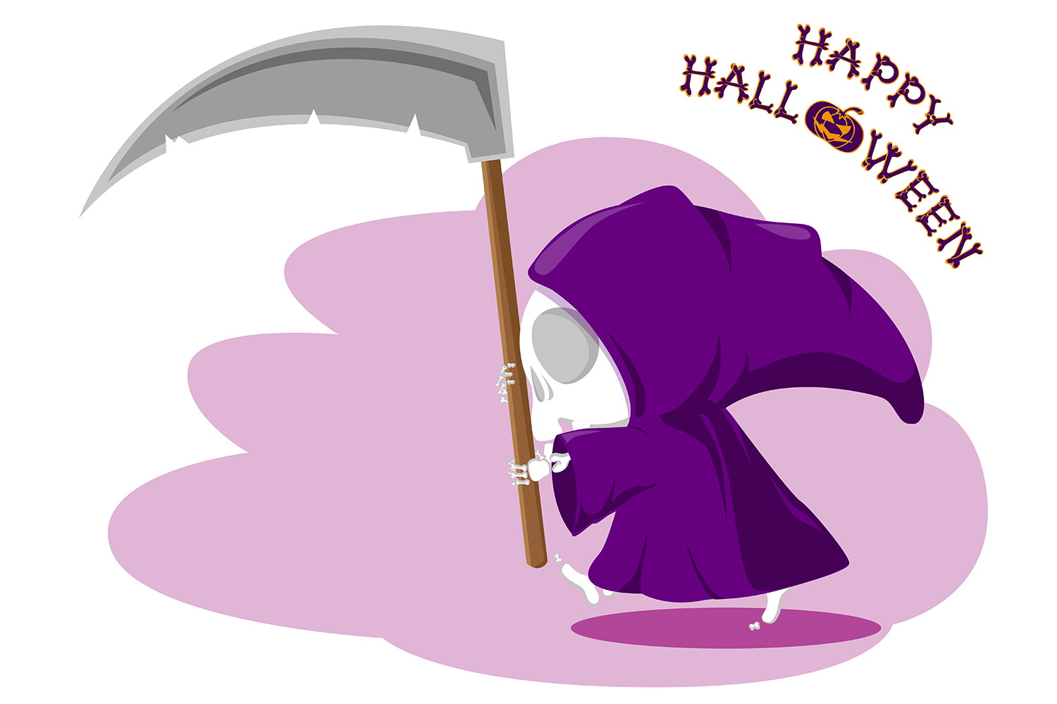 Set of 12 figure funny little death with large scythe and halloween pumpkin. Vector illustration example image 9