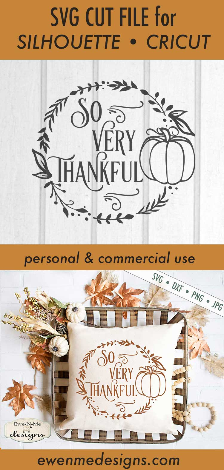 So Very Thankful - Thanksgiving - Pumpkin Wreath - SVG DXF example image 3