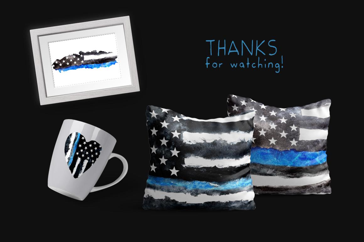 Police flag USA. Watercolor. example image 8