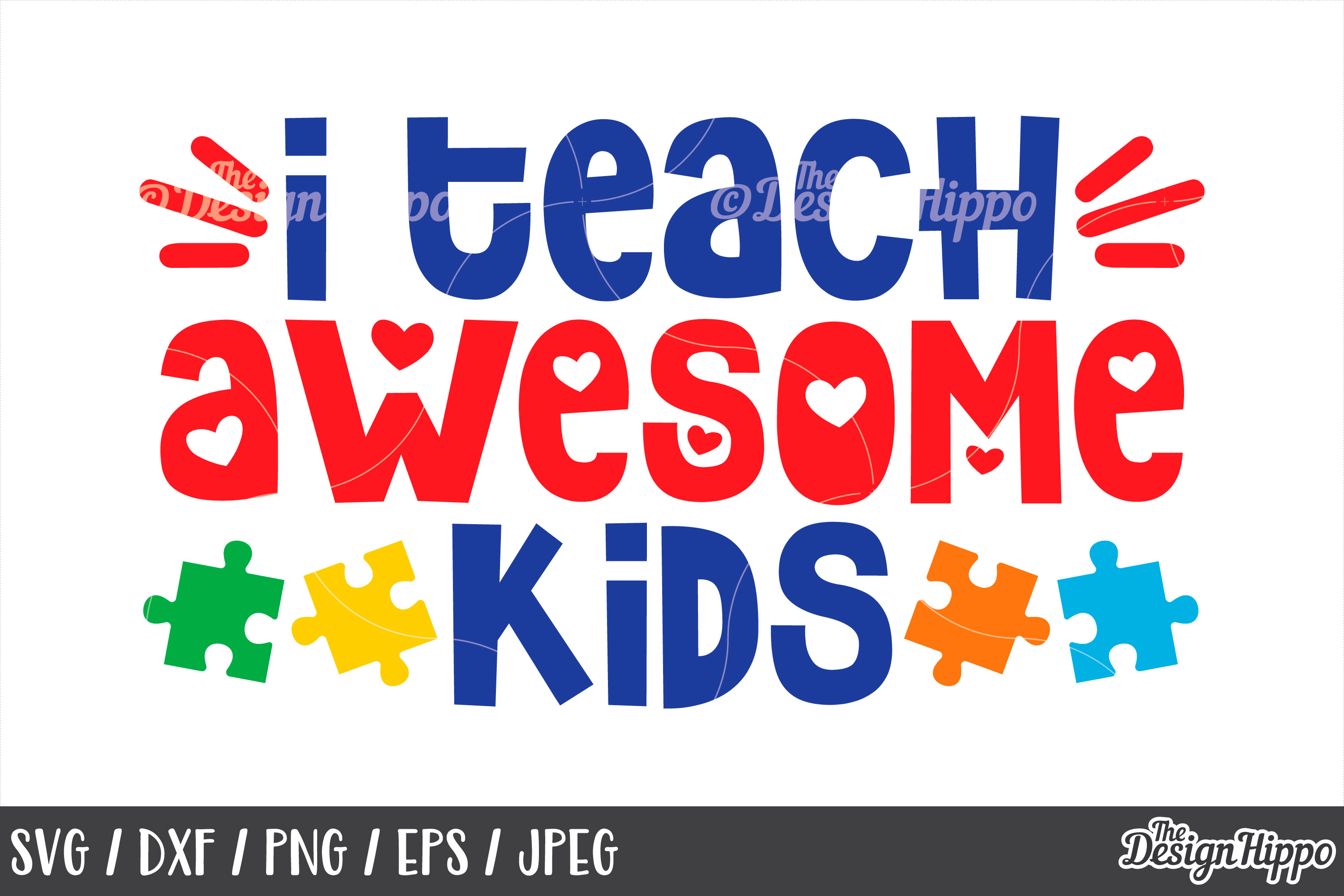 Autism Awareness, I Teach Awesome Kids, Puzzle Pieces, SVG example image 1