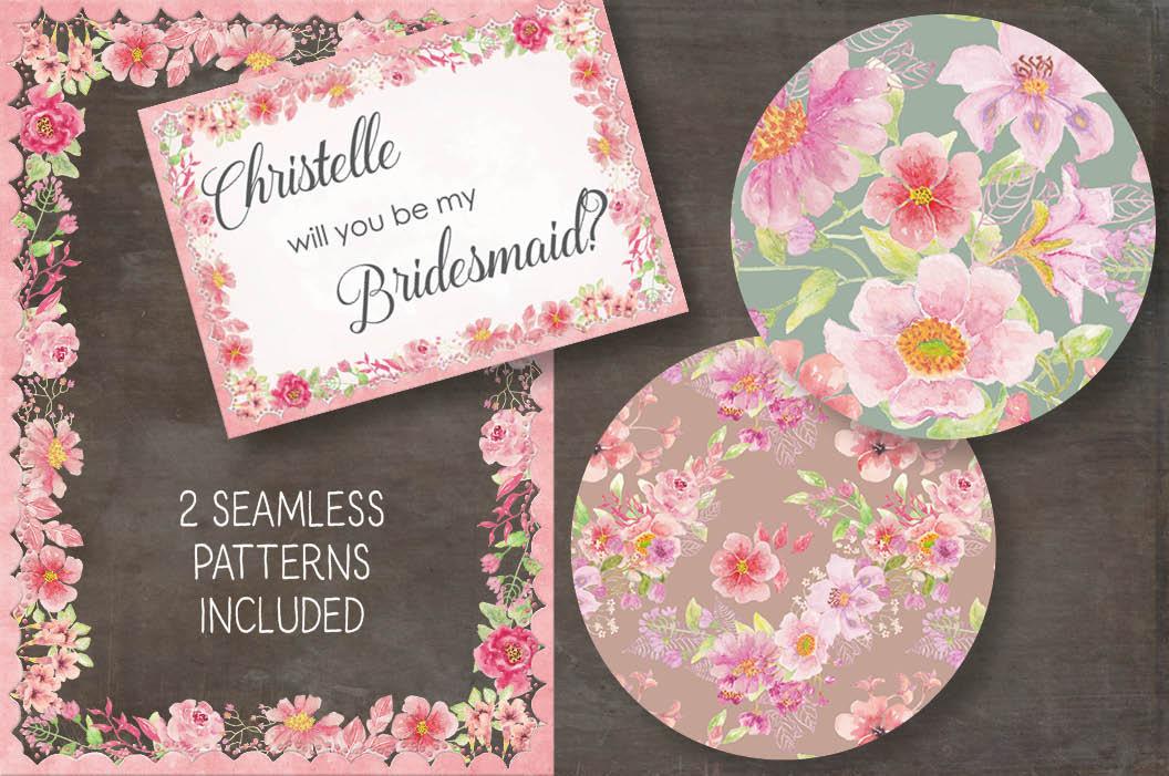 Watercolor clip art bundle: 'Just Pink' example image 6