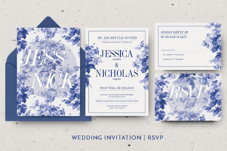 China Blue Wedding Invitation example image 4