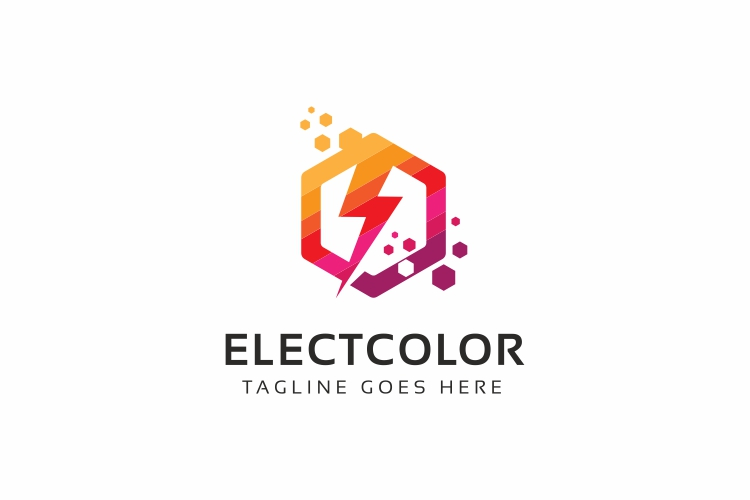 Electro Colorful Hexagon Logo example image 1