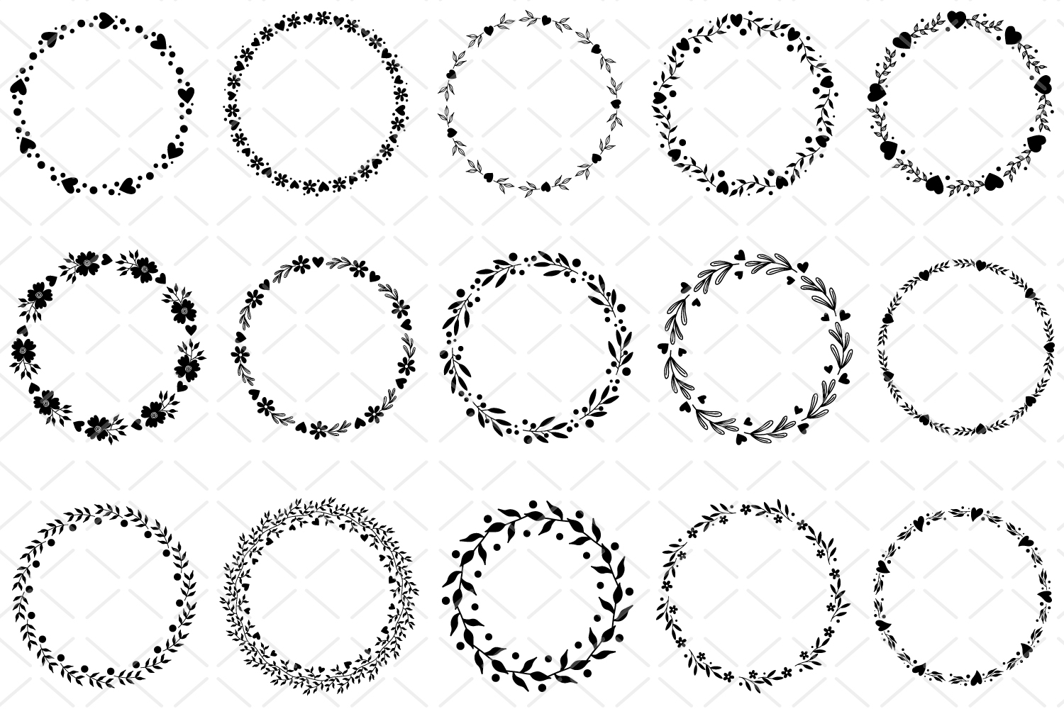 15 Round frames, circle floral frame SVG, round ornaments example image 2
