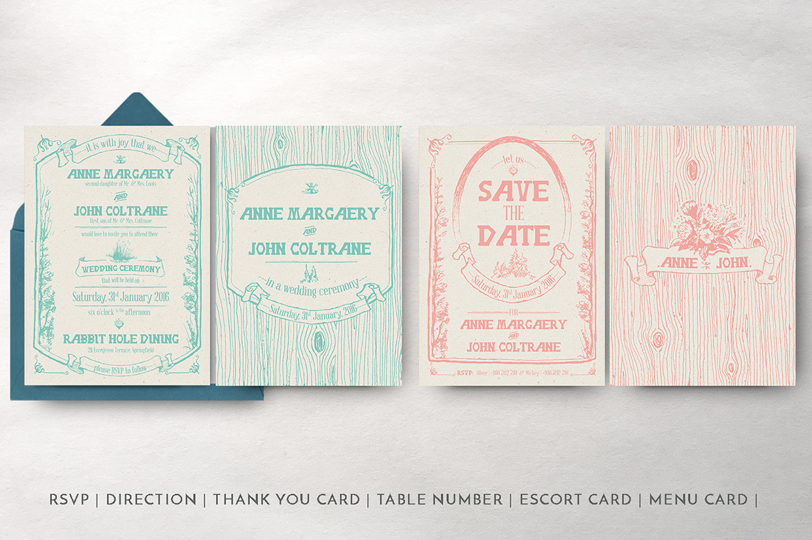 Whimsical Forest Wedding Invitation Suite example image 4