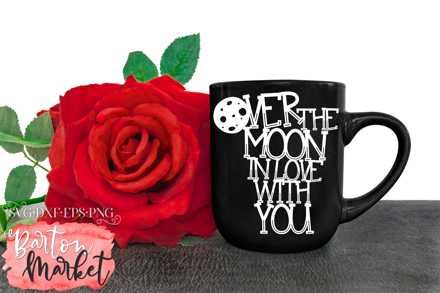 Over the Moon SVG DXF EPS PNG example image 1
