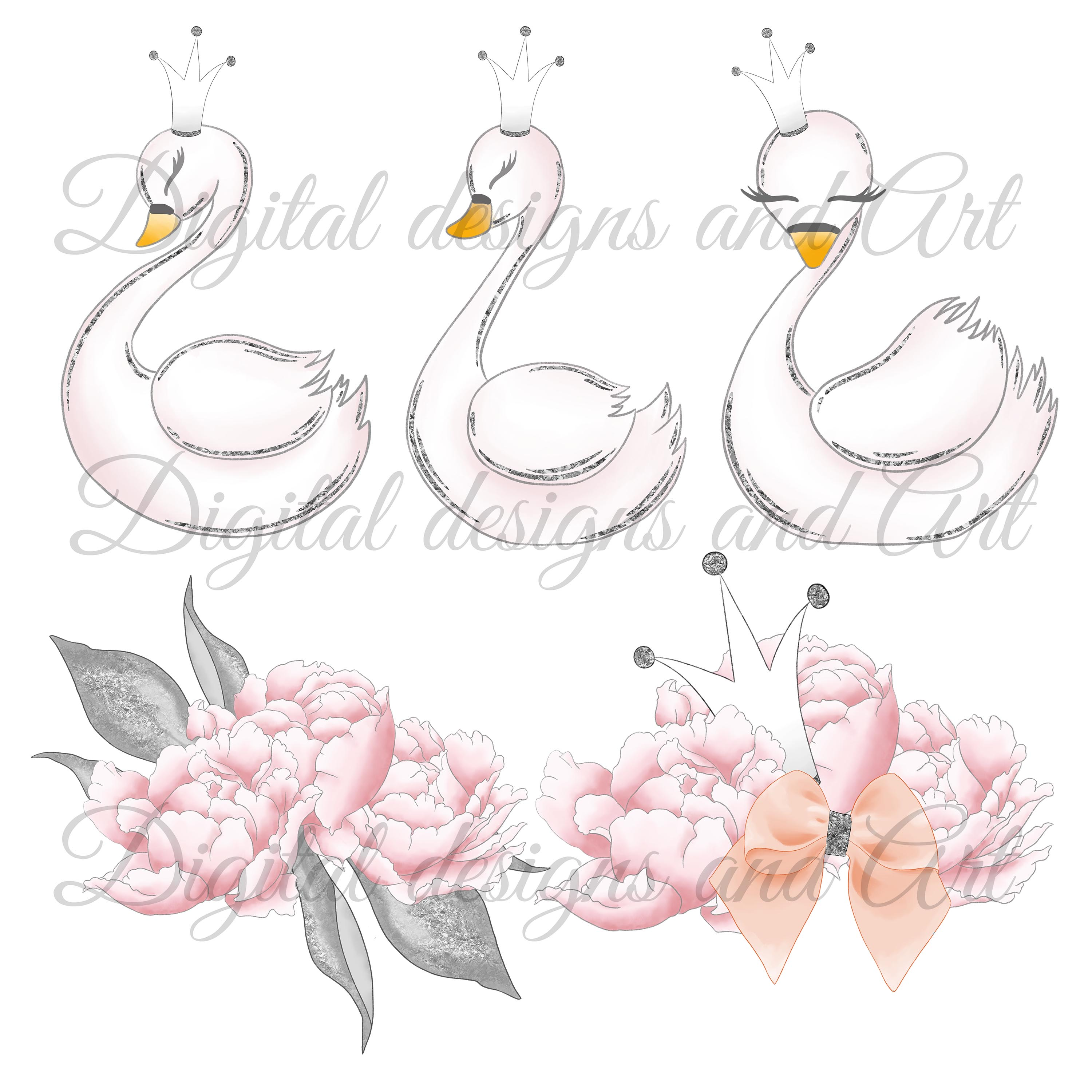 Wild swans clipart example image 8