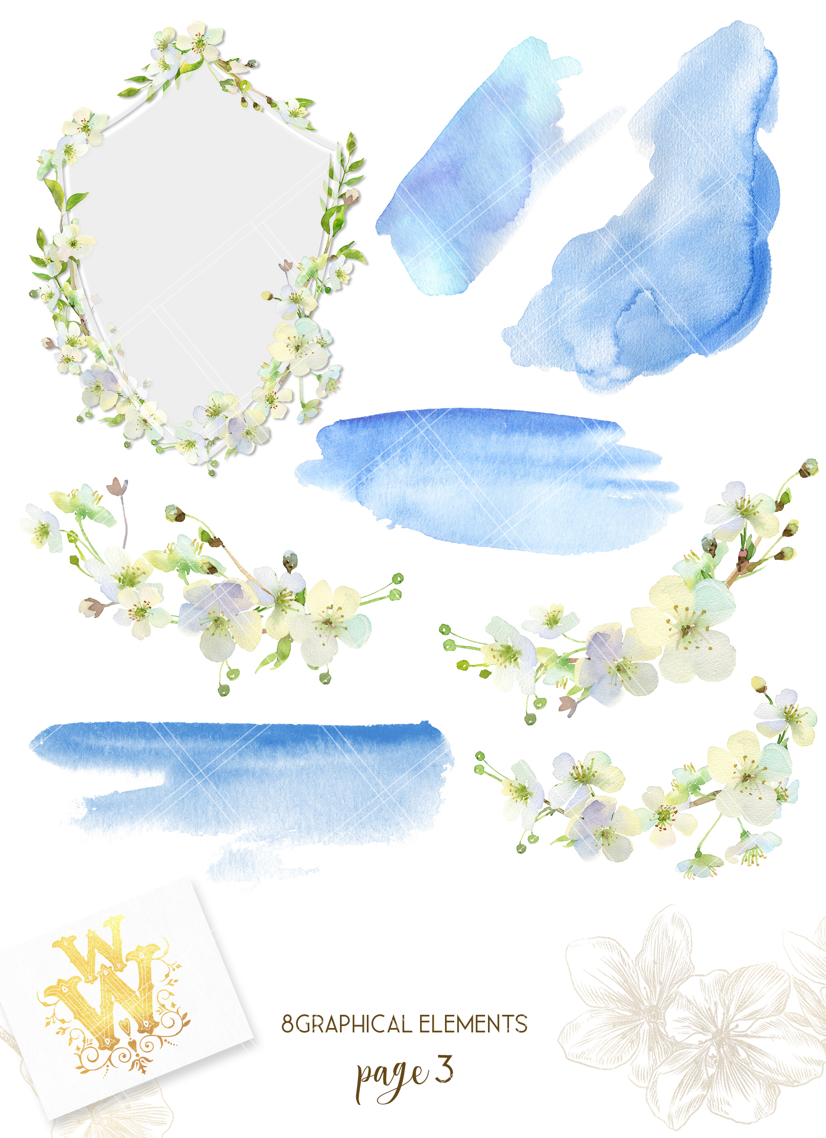 Watercolor white cherry blossom spring clipart example image 4