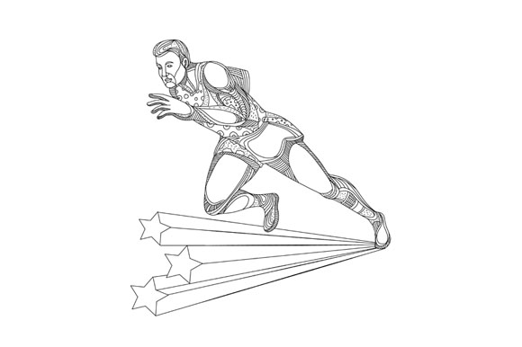 Track and Field Athlete Running Doodle Art example image 1
