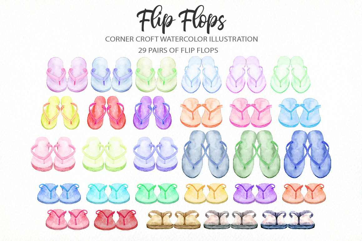Watercolor flip flops clipart for instant download example image 2