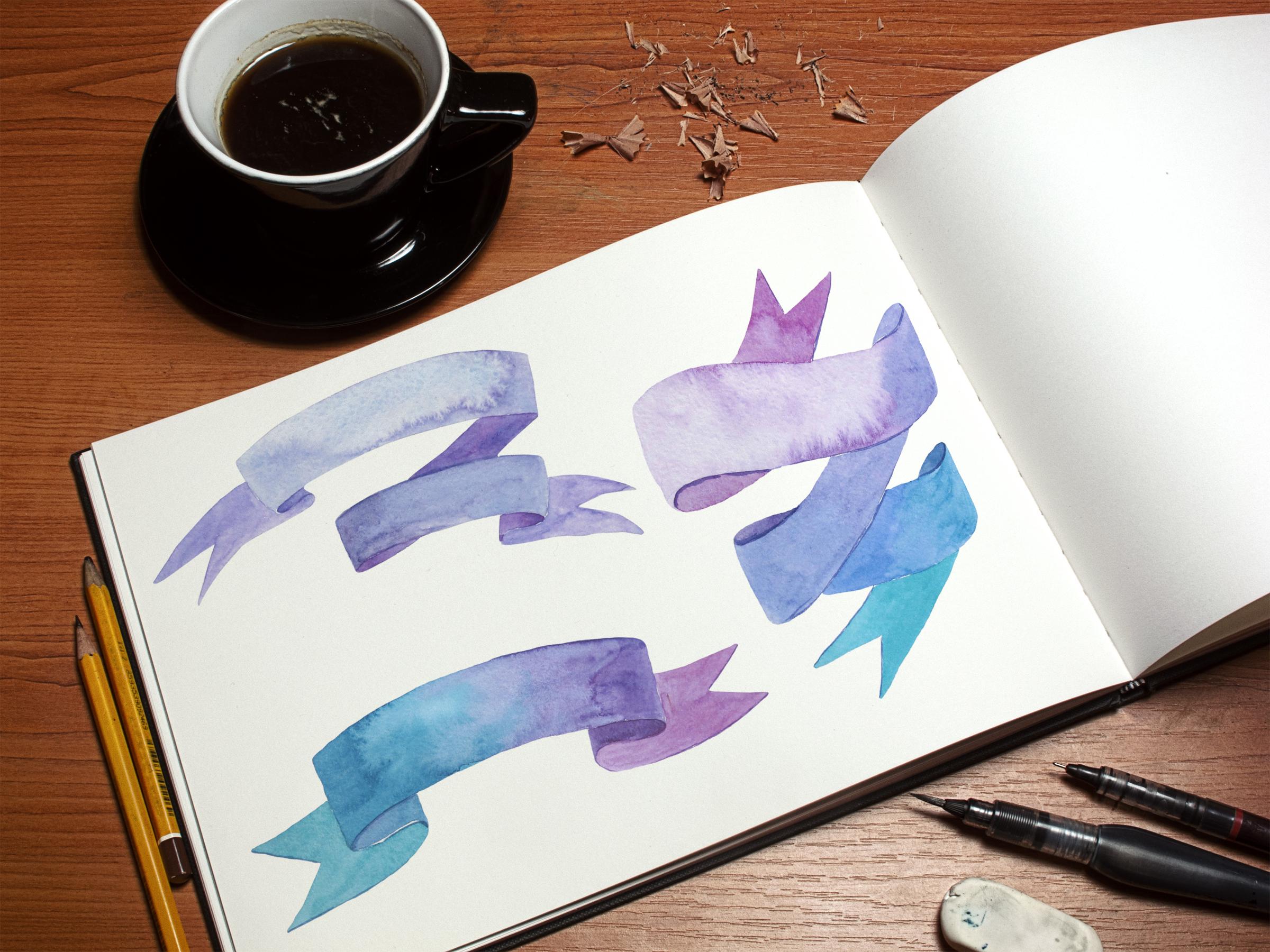 Ribbons and bows watercolor example image 4