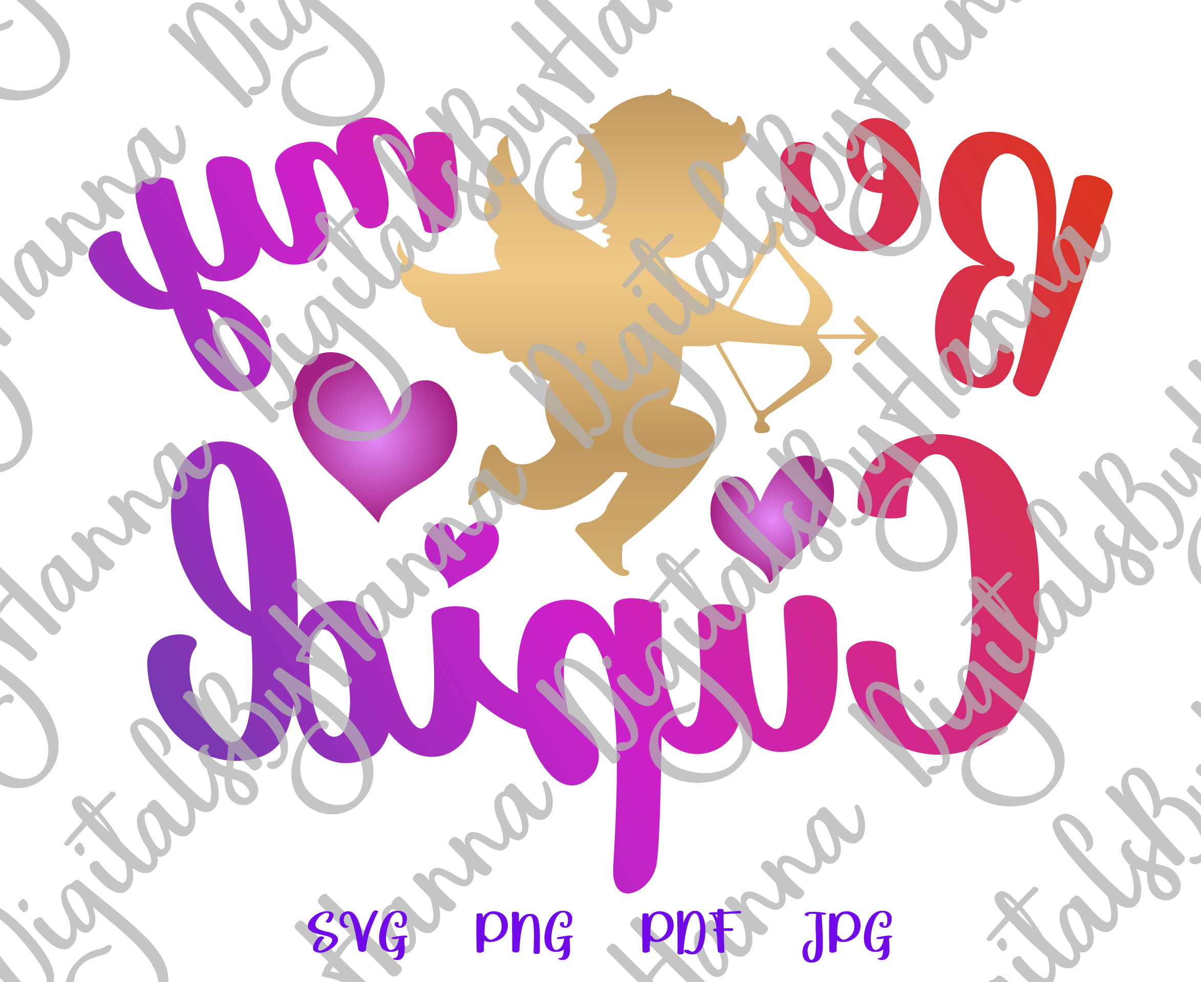 Be My Cupid Happy Valentine's day Sign Print & Cut PNG SVG example image 3