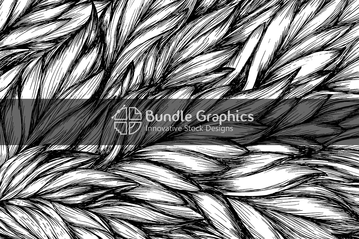 Big Leaves Nature Background - Handmade Ink Graphics example image 1