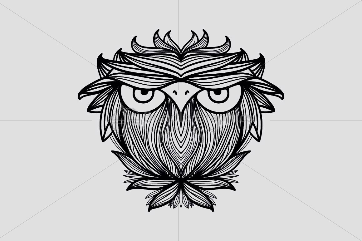 Owl - Freehand Creative Linear Graphic Artistic Composition example image 2
