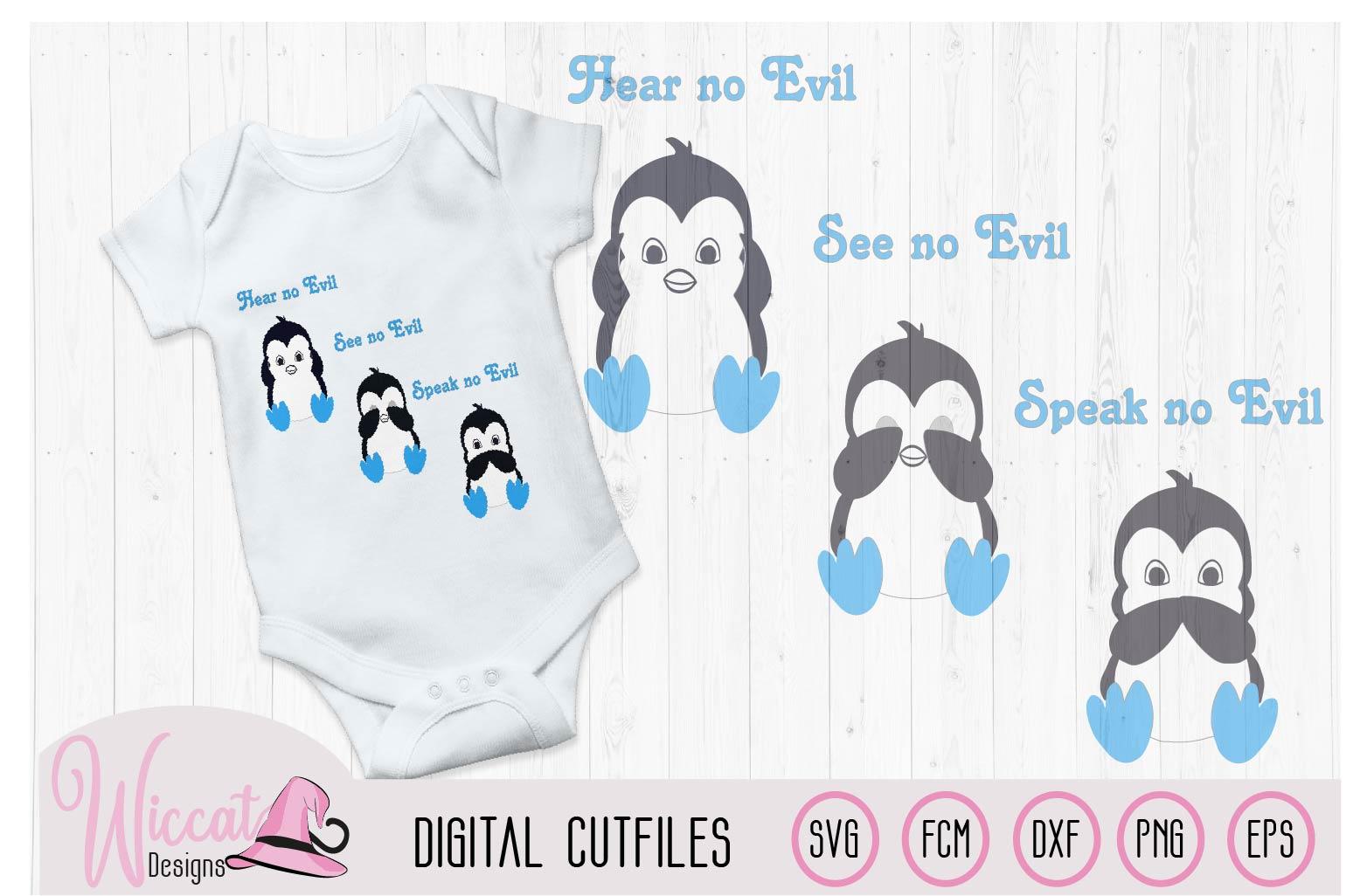 Boy Penguin svg, Hear no evil see no evil craft file example image 2