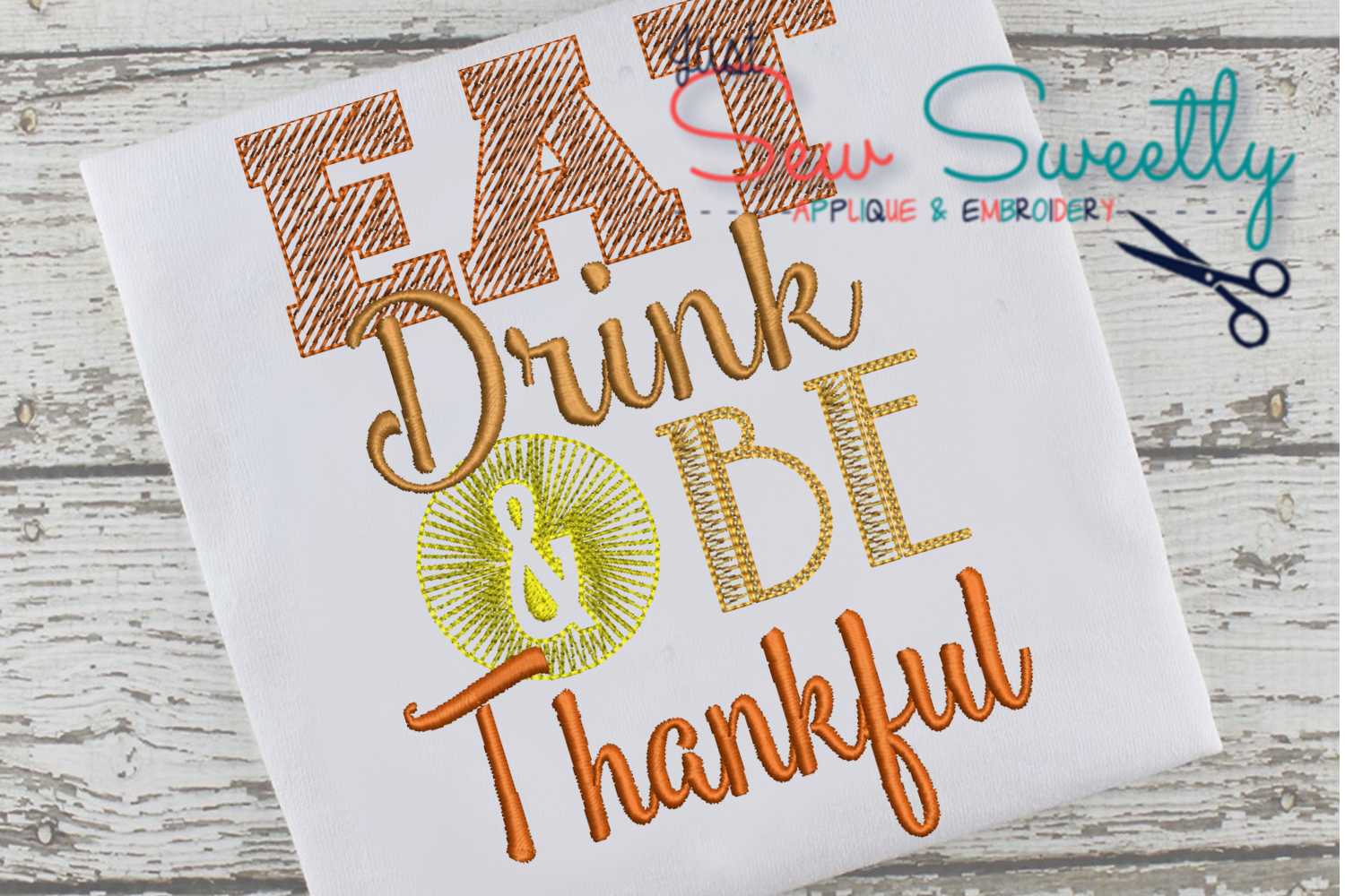 Thanksgiving Be Thankful Sketch Applique Embroidery Design example image 1