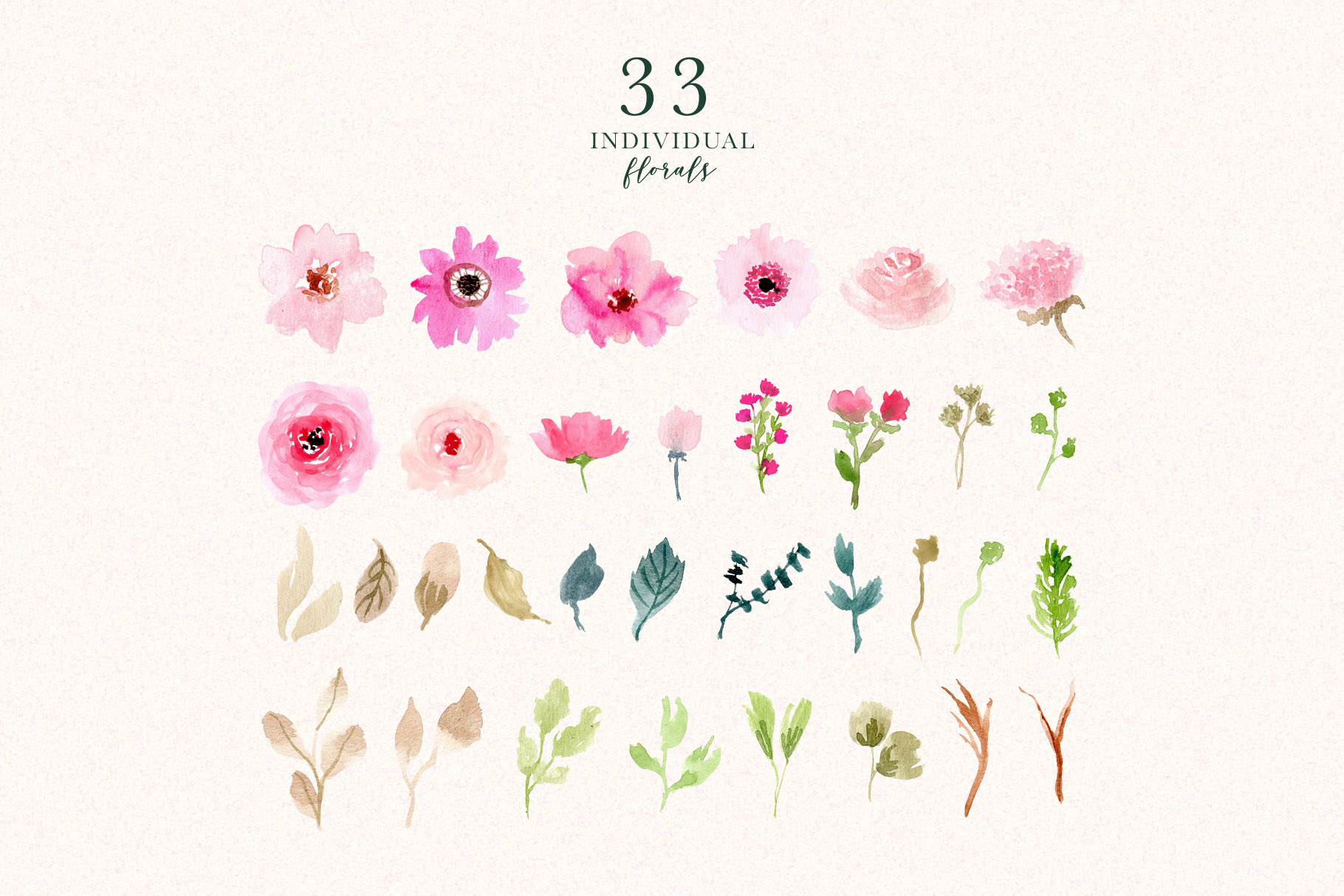 Pink Delight - Watercolor Floral Clipart example image 6